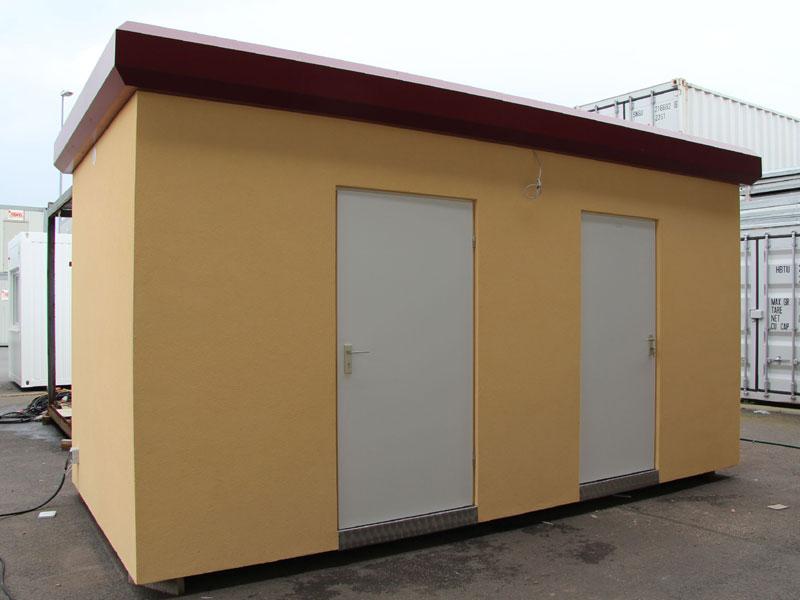 Auf einem marktplatz wurden toilettenräume für die marktbetreiber
